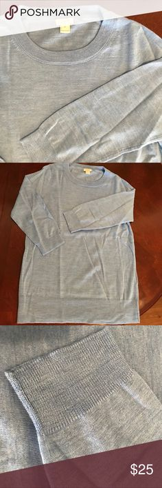 J. Cre 3/4 sleeve top, never worn J crew 3/4 sleeve sky blue top. Never worn, smoke and pet free home. No issues J. Crew Tops