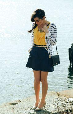 Heels: Calvin Klein. Tank: Kate Spade. Skirt:J. Crew. Cardigan: Lauren Ralph Lauren. Bag: Coach