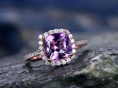 Purple Amethyst engagement ring-Solid 14k rose gold-handmade diamond ring-Halo stacking band-8x8mm Cushion cut gemstone promise ring - BBBGEM