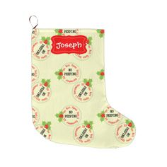 Personalized Christmas stockings with a fun no peeping, do not open until 28th December holly berries pattern in red, green, cream and white. Fabulous decor for the holiday season. Don't forget to customize it with a name. #festive-pattern #christmas-day #holly #red #25th-december #christmas-pattern #funny #festive #no-peeping #do-not-open #template #festive-home-decor #kids-stockings #christmas-decor #cute #white #fun #christmas-home-decor #holly-berries #christmas-graphic