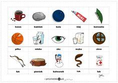 Materiał obrazkowy. Nagłos, śródgłos, wygłos. Głoska [k] - Printoteka.pl Idioms, Mma, Logos, Baby, Speech Language Therapy, Projects, Logo, Baby Humor, Infant