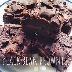 Black Bean Brownies. Shared by Livecleanandthrive! 1 can black beans (rinsed), 1 scoop chocolate Perfect Fit Protein, 1/3 cup cacao powder, 1/3 cup unsweetened apple sauce, 1/3 agave nectar, 1/3 cup coconut oil (melted), 2 tsp vanilla extract, 1/2 tsp pink himalayan salt, optional stevia to taste. Line baking dish with parchment paper. Pour half batter, place dollops of peanut butter evenly, pour remaining batter on top. Topped with dark chocolate chunks. Bake at 350 degrees for 25 minutes.