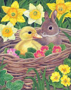 """""""Spring Babies"""" by Anne Mortimer. Mortimer has been a professional illustrator for over 30 years. She studied Natural History at Dyfed College of Art, Wales. She says, """"Nature is truly my inspiration."""""""