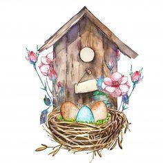Spring Birds, Spring Art, Spring Crafts, Spring Flowers, Watercolor Pictures, Watercolor Flowers, Watercolor Paintings, Watercolor Projects, Easter Art