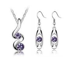 Stylish Wave Purple Jewellery Set Drop Earrings and Necklace with Pendant Only £ 7.99