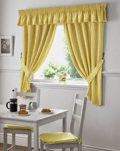 Which type of kitchen window curtains you can choose? in this article you will know what type of Kitchen window curtains you can choose. White Kitchen Curtains, Cool Curtains, Drapes Curtains, Country Kitchen Curtains, Simple Curtains, Yellow Curtains, Curtain Styles, Gingham Curtains, Yellow Kitchen Curtains