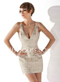 Cocktail Dresses - $112.99 - Sheath V-neck Short/Mini Sequined Cocktail Dress (016020815) http://jjshouse.com/Sheath-V-Neck-Short-Mini-Sequined-Cocktail-Dress-016020815-g20815