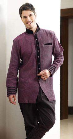 Herrenmode Black Kurta Sherwani With Contrasting Threadwork Embroidery Detail Size 48 Fein Verarbeitet
