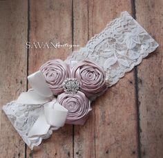 BABY HEADBAND ivory shabby chic flowers headband by SAVANIcouture, $12.99