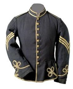 A rare Chasseur Jacket identified to Commissary Sgt. Warren R. Hedden, 65th NY., United States Chasseurs, having old hand-sewn label with period inked inscription in collar that reads, Warren R. Hedden/Commissary Sgt./1st Regt. U.S.C. This is an excellent example of the regiment's early infantry chasseur jacket made of blue wool trimmed in white tape with original sergeant's chevrons, now aged to a yellowish, almost butternut color.
