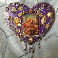 Large purple devotional heart Angel Milagros by JailbirdJunque