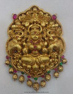 Lakshmi Pendant Designs, Lakshmi Pendant with kemp stones, Gold Temple Jewellery pendant designs, Gold antique lakshmi pendants,