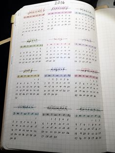 bullet journal, yearly view ( would like to include this so I'm not having to…