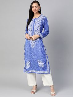 Ada Hand Embroidered Royal Blue Faux Georgette Lucknow Chikankari Kurti- A100462 offers a comfortable and relaxed silhouette to the wearer #Adachikan #chikankari #chikan #handcrafted #handembroidery
