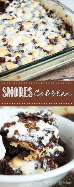 Smores Cobbler - This variation of a dump cake recipe uses chocolate pudding, chocolate cake mix, semi sweet chocolate chips, graham crackers, and toasted marshmallows! A total fool-proof dessert! Desserts With Chocolate Pudding, Chocolate Cake Mix Recipes, Chocolate Cobbler, Dump Cake Recipes, Pudding Desserts, Easy Desserts, Delicious Desserts, Dessert Recipes, Yummy Food