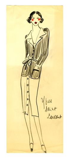 1971 - Original Sketch by Yves Saint Laurent by FIT Library Department of Special Collections