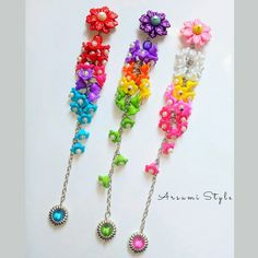 Rakhi, Diy Earrings, Pearl Jewelry, Brooches, Diy And Crafts, Dangles, Craft Ideas, Bows, Pearls