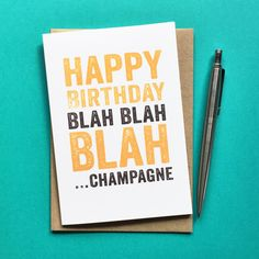 Blah Blah Blah Champagne Card – Do You Punctuate?