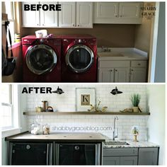 We took our laundry room from dark and dated to light and bright! Come see our…