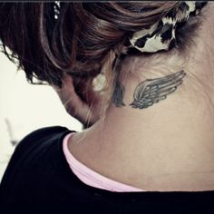 back of neck tattoos wings - Google Search