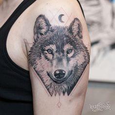 Wolf ~ :) - #타투 #그라피투 #타투이스트리버 #디자인 #그림 #디자인 #아트 #일러스트 #tattoo #graffittoo #tattooistRiver #design #painting #drawing #art #Korea #KoreaTattoo #wolf #늑대