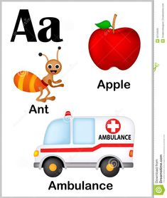 Alphabet letter A pictures stock vector. Alphabet Tracing Worksheets, Preschool Worksheets, Preschool Learning, Printable Alphabet, Alphabet Activities, Abc Phonics, Jolly Phonics, Alphabet For Toddlers, Flashcards For Kids