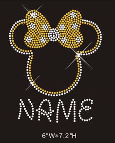 A personal favorite from my Etsy shop https://www.etsy.com/listing/262438571/minnie-mouse-with-custom-name-rhinestone