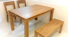 Natural-finish solid wood can liven up any dining room. Just look at how the Rasley Dining Set is doing it here! http://www.etchandbolts.com/rasley-dining-set #interiordesign #Scandinavian #homedecor #livingroomdesign #apartment #tables #benches #chairs #singapore