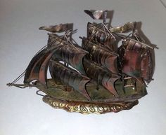 69ccb1eec4b Copper Galleon Sailing Ship - Nautical - Pirates - Home Decor - Mancave -  Welding - Vintage On Sale Now 20% Off