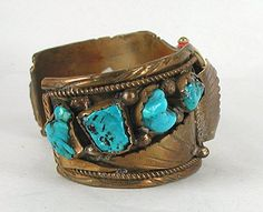 Authentic Vintage Native American 8-Stone Turquoise and Brass watch Cuff
