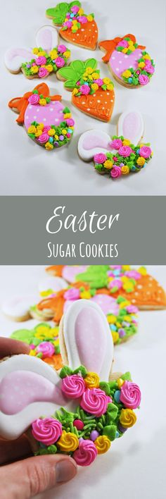 Floral Easter - Easter eggs - Easter Cookies - sugar cookies - happy easter gift - Easter egg - Flowers - Easter Bunny Ears - Carrot #affiliate