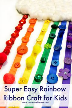This super cute Rainbow craft for kids would be great for a color sorting activity, or a craft for St. Patrick's Day, or really.. just because it is so incredibly happy!