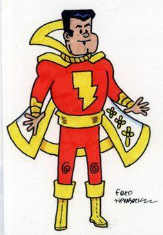 Fred-Hembeck-Color-Sketch-Card-Captain-Marvel-Shazam-DC-1-1