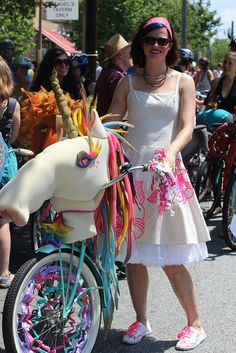 The city of Atlanta, where one of our core Important Media employees lives, recently hosted a big bike parade. Atlanta isn't knowing for its bicycles, but the parade looked pretty sweet and w… Unicorn Bike, Africa Burn, Bike Decorations, Bike Parade, Tricycle Bike, Burning Man Art, Tweed Run, Diy For Men, Costume Contest
