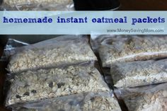 Homemade Instant Oatmeal Packets Oatmeal Packets Recipe 1 canister quick oats 1 canister rolled oats cup cinnamon 2 cups flax seed, ground 1 box of snack-sized zip-top baggies Mix rolled . Freezer Cooking, Freezer Meals, Cooking Recipes, Homemade Instant Oatmeal, Oatmeal Packets, Make Ahead Meals, Chutney, Breakfast Recipes, Breakfast Time