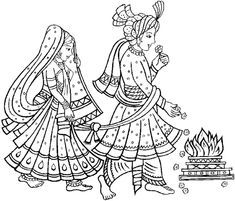 Free coloring page coloring-adult-mariage-indien. Representation of a traditional Indian wedding, quite simple but with many areas to color Wedding Ceremony Outline, Wedding Art, Wedding Reception, Wedding Clip, Wedding Hands, Wedding Ceremonies, Free Wedding, Wedding Vows, Madhubani Art