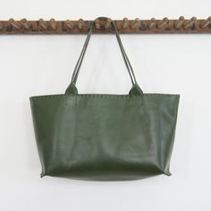 Eloise Tote Soft Calf Leather Green by stitchandtickle on Etsy