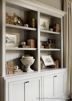 beautiful book shelves/storage combo