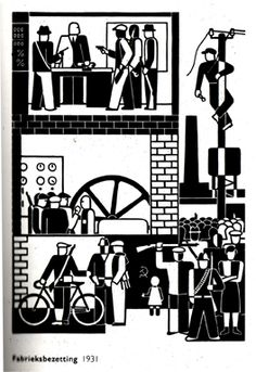 Gerd Arntz: Fabriksbesetzung (occupation of a factory), 1931.
