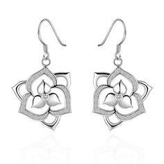 Fashion Earrings Women Trendy Flower Silver Plated Silvering Zircon