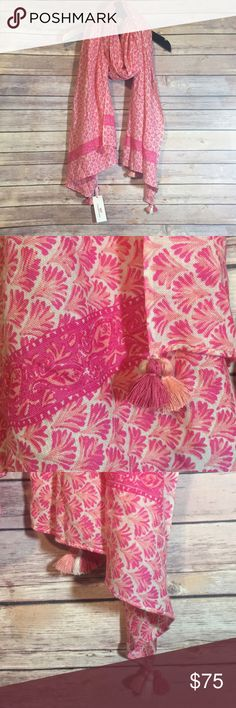 Vineyard Vines Pink Scarf NWT Vineyard Vines Tiny Leaves Print Tassel Scarf. Color: Tequila Sunrise. One Size. New With Tags. Vineyard Vines Accessories Scarves & Wraps