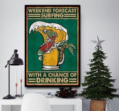 Skeleton surfing weekend forecast surfing with a chance of drinking poster canvas wall decor Halloween Wall Decor, Halloween Gifts, Canvas Wall Decor, Canvas Art, Foster Baby, Feline Leukemia, Yellow Cat, Skeleton, Drinking
