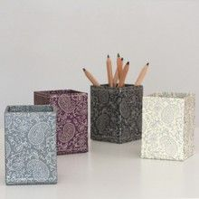 A practical pen and pencil pot available in four lovely paisley designs. All our beautiful handmade stationery and storage products are produced in an eco-friendly way, from 100% recycled materials.