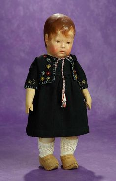 Early German Cloth Character Doll, Series I, by Kathe Kruse. $1200/1600