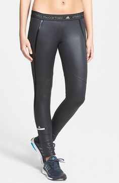 Free shipping and returns on adidas by Stella McCartney Running Tights at Nordstrom.com. Coated for a slick, wet look and designed to fit like a second skin, these ankle-zip running tights fuse streetwise style with top-notch, quick-drying CLIMALITE® performance. A branded waistband and shiny trim curving around the legs complete the perfectly polished look.