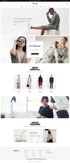 Nova is clean, modern minimalist design #PSD template for stunning #fashion store #eCommerce website with 10 homepage layouts and 33 layered PSD pages to live preview & download click on Visit