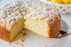 Lemon Crumble Breakfast Cake ~ from the first bite to the last, this cake is loaded with bright lemon flavor. This is a moist, tender cake topped with a sweet crumble top then dusted with powdered sugar. Whether you serve it for breakfast, brunch, afternoon tea or dessert, you'll be basking in enthusiastic, sunny compliments! www.savingdessert.com | breakfast | cake | lemon | crumble | brunch | coffee cake | dessert