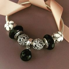50% OFF!!! $199 Pandora Charm Bracelet Black White. Hot Sale!!! SKU: CB01927 - PANDORA Bracelet Ideas