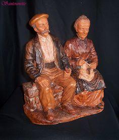Liliane Guiomar - le couple sur le banc, pièce en argile de Salernes datant de 1976