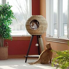 "Sauder 44"" Sphere Scratch Post Cat Tree"